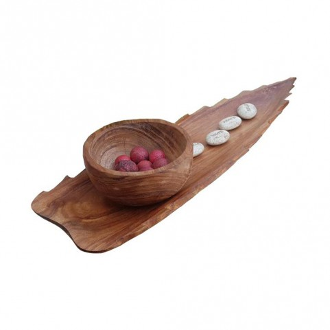 DISPLAY AGAVE PENCA WITH BOWL • Wood